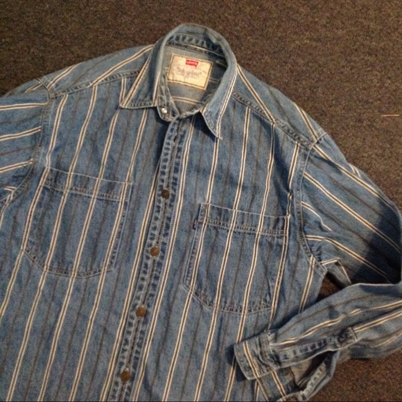 a68883df28 Levi's Shirts | Vintage Levis Striped Denim Jean Shirt S | Poshmark